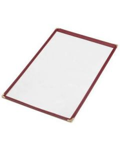 """14"""" x 8 1/2"""" - Clear Stitched Cafe Menu Covers (25 covers/pack) - 1 Panel / 2 View - Black"""