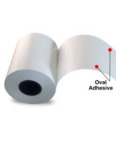 "3.125"" x 150' Print & Stick Thermal Paper (18 rolls/case) - Oval Adhesive"