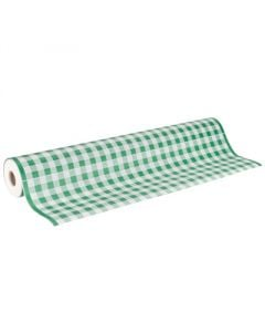 "40"" x 100'  Paper Table Cover (1 roll) - Green / White Gingham"