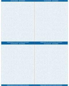 """8 1/2"""" x 11"""" - 4 up Laser Rx Paper (500 sheets/package) Horizontal & Vertical Perf - Blue"""