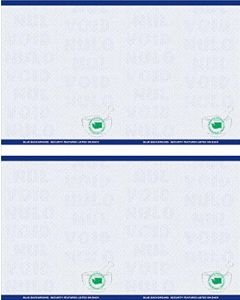 """8 1/2"""" x 11"""" - 4 up Laser Rx Paper, Horizontal & Vertical Perf with WA specs (500 sheets/package) - Blue"""