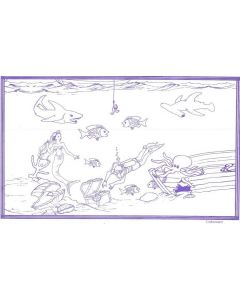 "8 1/2"" x 14"" Restaurant Coloring Sheets (500 per pack) - Underwater Theme"