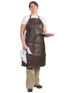 Bib Apron -Vinyl - Brown - Extra Long, 37""