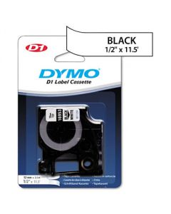 Dymo D1 Flexible Nylon Label Maker Tape, 1/2in x 12ft, Black on White