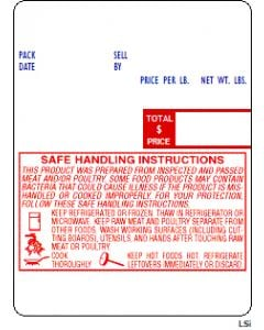 DIGI Prepack (60mm x 80mm) UPC, Safe Handling for Meat and Poultry Scale Labels (5,400 labels/case)