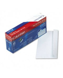 Grip-Seal Security Tint Business Envelopes, Side Seam, #10, White Wove, 45/Box