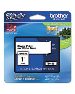 Brother TZe Standard Adhesive Laminated Labeling Tape, 1w, Black on White