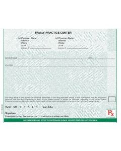 """Maine compliant 5 1/2"""" x 4 1/4"""" Horizontal 1-part Rx Pads (8 Pads @ 100 sheets/pad) - Green"""