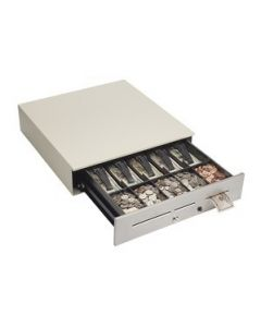 """MMF MediaPLUS Cash Drawer (Color Matched Front - 3 Media Slots, 16"""", Standard Tray, Dual 12/24V, Random Lock and No Bell) - Color: Putty"""