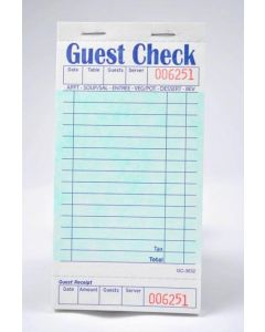 Single-Copy Cardboard Guest Checks (2,500 checks/case) - G3632