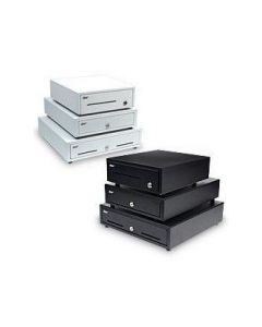 """Star Micronics Cash Drawer, 16"""" W x 17"""" D, Printer Driven, 5 Bills / 4 Coins, Dual Media Slots, DK Ready, CD1 Cable Included - Black"""
