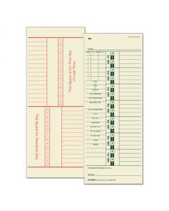 Tops Time Card for Acroprint and Simplex, Weekly, Two-Sided, 3-1/2 x 9, 500/Box